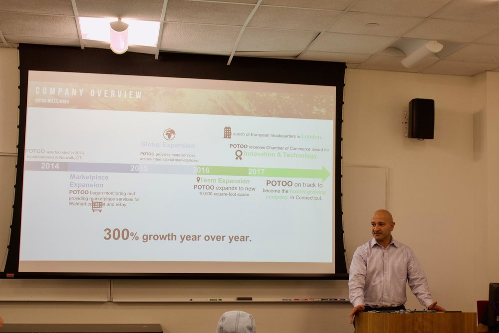POTOO VISITS THE UNIVERSITY OF CONNECTICUT - CEO Fred Dimyan and VP of Service Delivery Operations Janine Wakim of Potoo Solutions spoke at the University of Connecticut about finding a future career in business analytics.