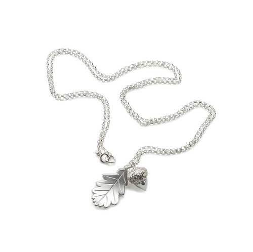 Acorn and leaf silver necklace kristinm london acorn and leaf silver necklace mozeypictures Image collections