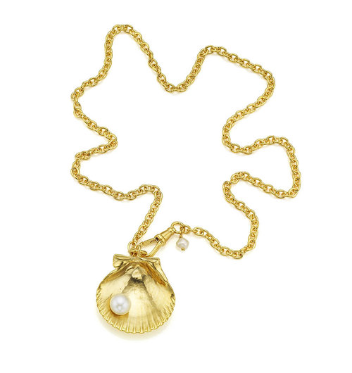 silver goldshell shell plated london necklace pearl gold kristinm with scallop paazw necklaces