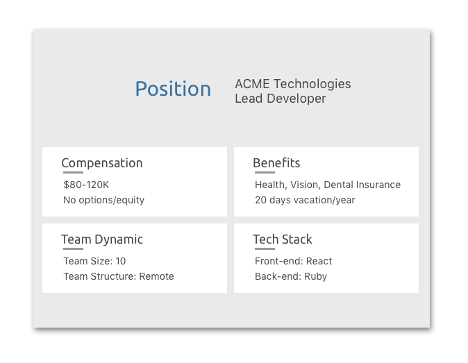 - See critical information about the position at a glanceWe collect vital information about a position, like the team's tech stack, compensation, benefits, and more. Get everything you need to know in order to decide to apply.