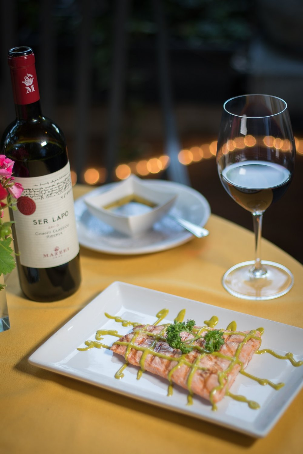 Salmone Alla Griglia - Fresh, 8oz. Alaskan Salmon filet, grilled to perfection and drizzled with fresh dill vinaigrette.
