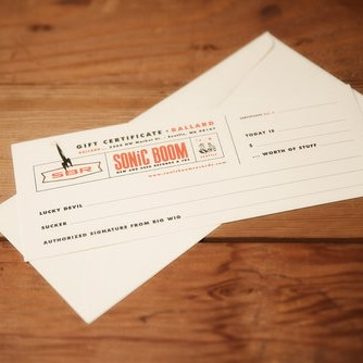 Sonic Boom Gift Certificate