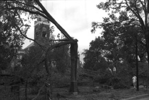 Hurricane Hugo damage to Tillman Hall in September 1989. Dacus Library Collection