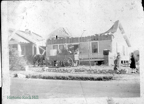 Damage to a house on Johnson Street in Rock Hill, SC following a tornado in November 1926. Craig Family Collection