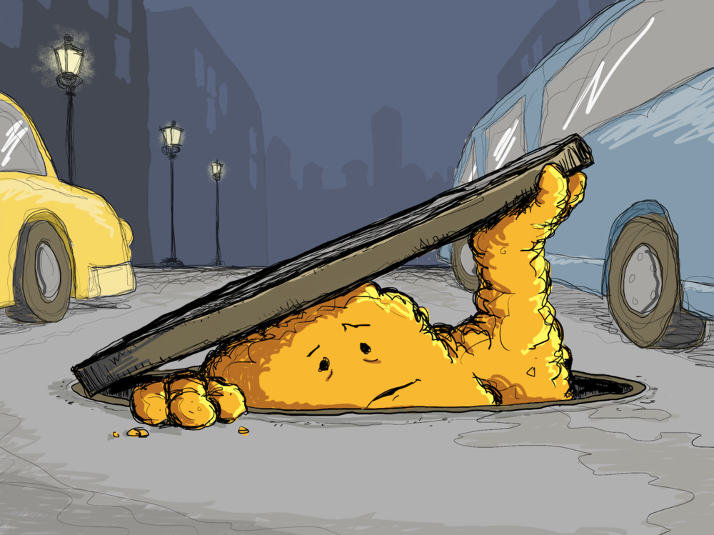 The Adventures of Fatberg - An unlikely hero emerges…Fatberg is a lovable sewer blob created by illustrator Nathan T. Wright. He first appeared in the children's picture book THE ADVENTURES OF FATBERG and his story continues in the pages of Water Canada magazine and a webcomic.