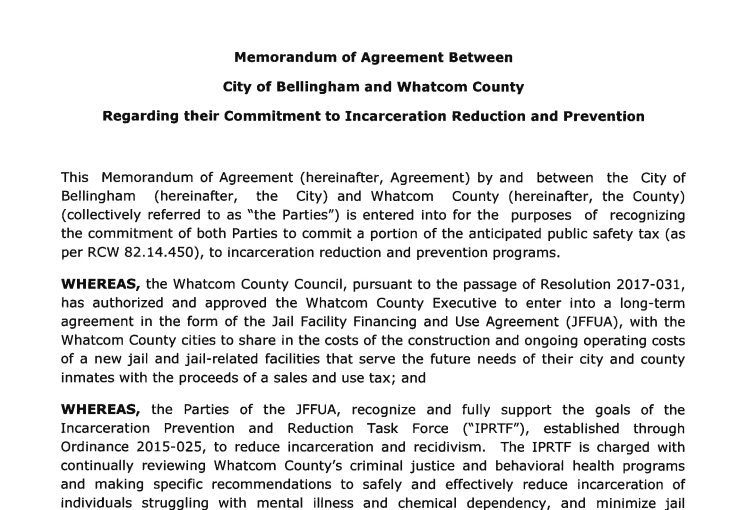 Memorandum of Agreement between City of Bellingham and Whatcom County
