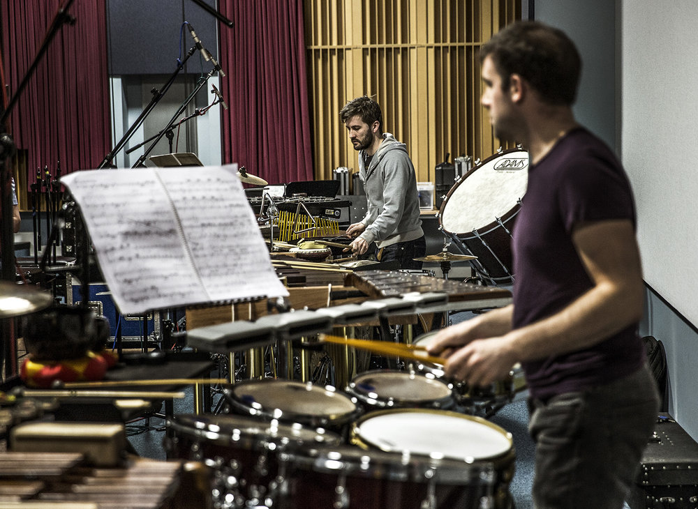 Olly Cox & Owen Gunnell recording the Double Percussion Concerto