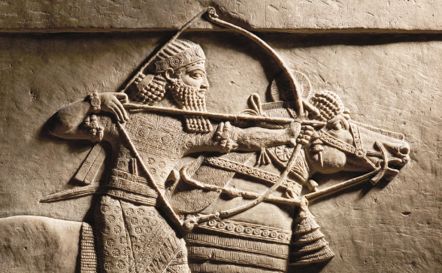 Relief of Ashurbanipal hunting on horseback. Nineveh, Assyria, 645–635 BC.