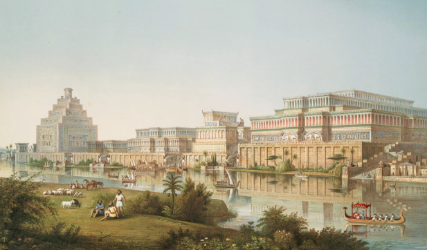 Illustration of Assyrian palaces from  The Monuments of Nineveh  by Sir Austen Henry Layard, 1853.