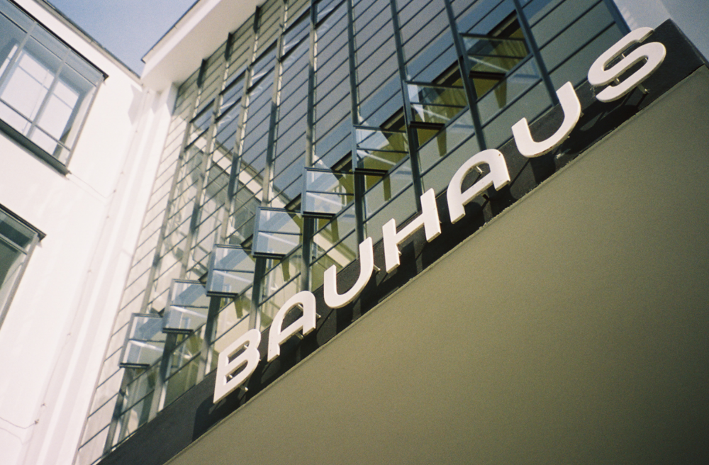 Typography by  Herbert Bayer  above the entrance to the workshop block of the Bauhaus, Dessau, 2005