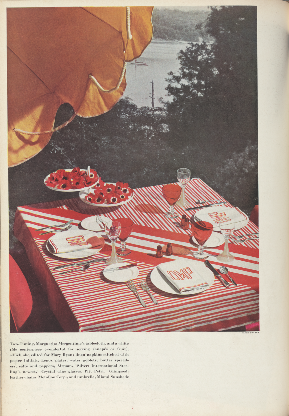 Marguerita Mergentime's Two-Timing tablecloth featured in House Beautiful, February 1935.