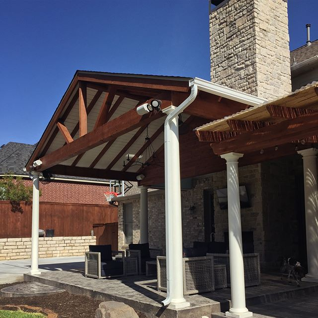 COMPLETE! By extending the roofline and bringing in some stamped concrete, we've added on an outdoor living area, sport court, and outdoor kitchen. We're so pleased with how it turned out and can't wait for this Fort Worth family to enjoy it for years to come!! #outdoorliving #exteriors #designbuild #homerenovation #stampedconcrete #sportcourt #outdoorkitchen #greenegg