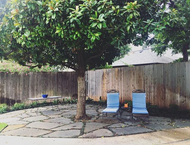 Laying down new stone in this backyard created a beautiful spot for relaxation and soaking up the new fall weather!