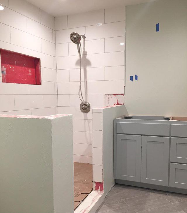 Coming up next: Quartz! ✨  #masterbathroom #homeremodel #quartz #designbuild #renovation