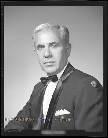 Portrait of Harry Begian, director of the University of Illinois bands from 1970-84. Found in RS: 39/2/26, Box 5, Folder Begian, Harry. Sousa Archives and Center for American Music, University of Illinois at Urbana-Champaign.