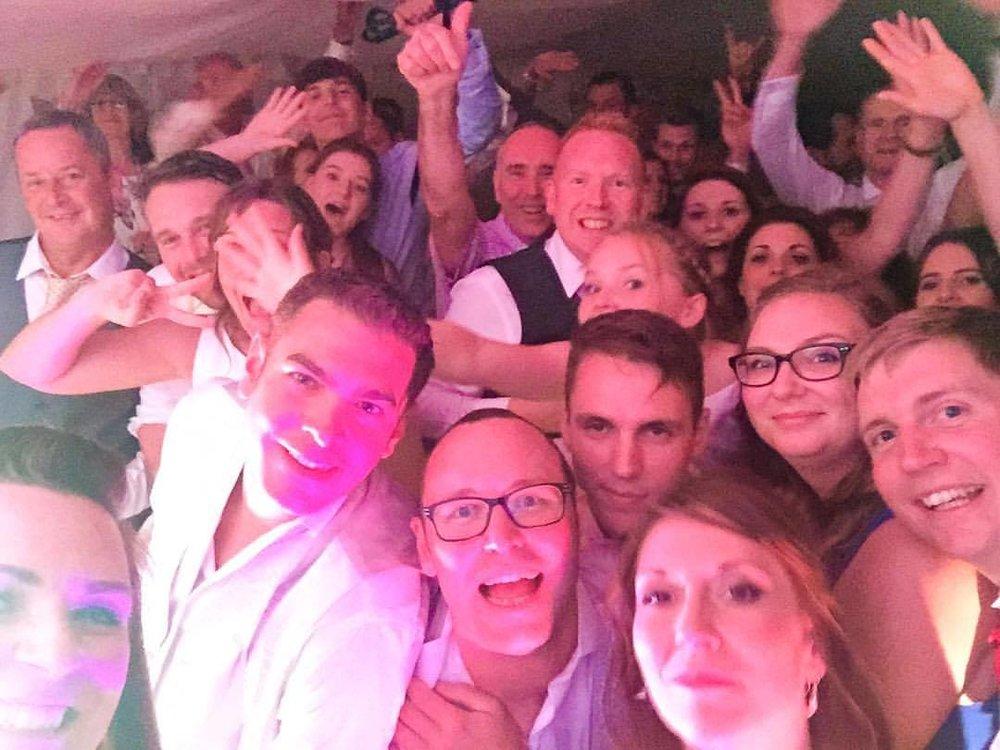 Wedding band dance floor selfie
