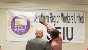 Southern Region Director Harris Raynor and Kyle Bragg, Secretary-Treasurer of SEIU Local 32BJ take a selfie