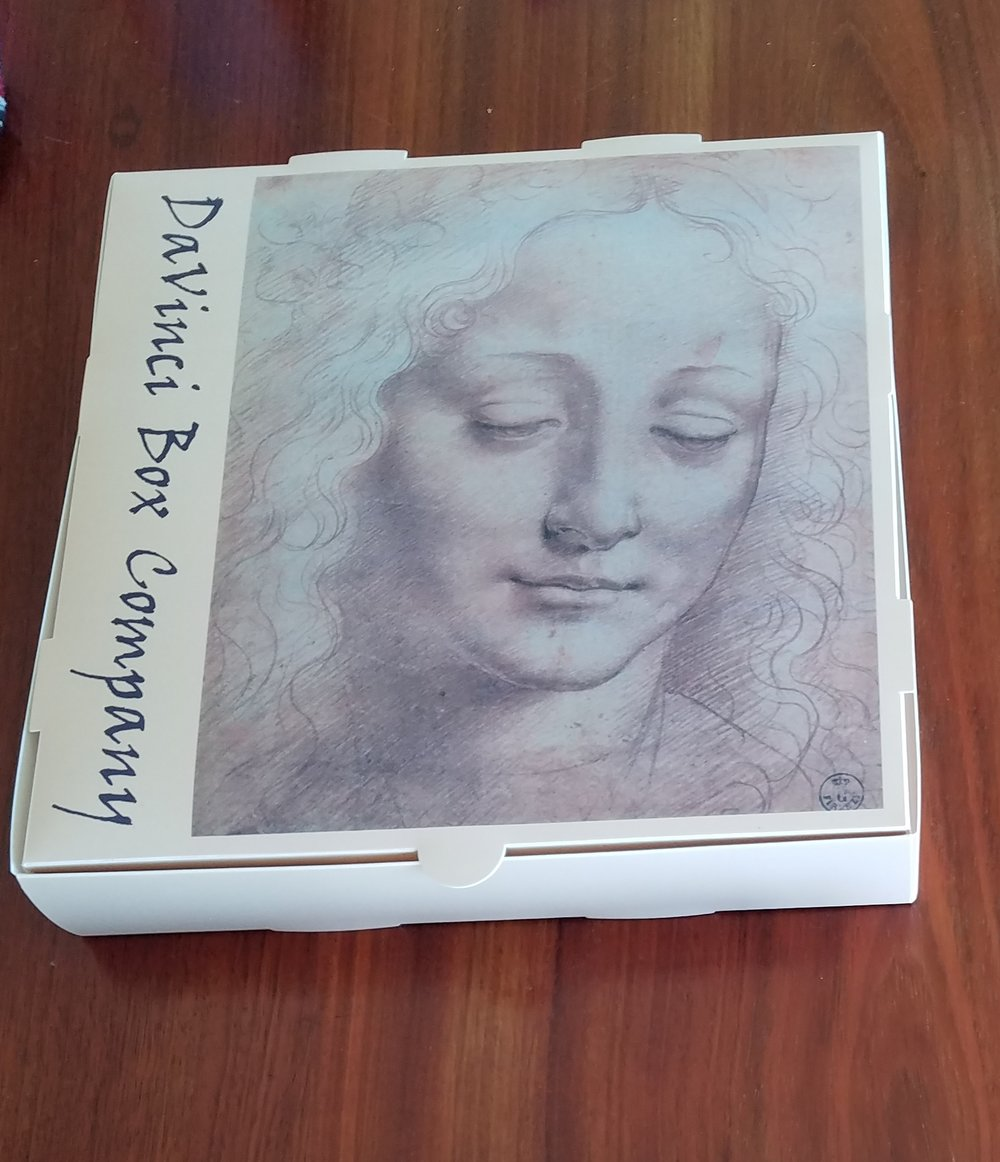 10- INCH DAVINCI PIZZA BOX - Beautiful Pizza Boxes. Elegant Design.Sold in cartons of 50 flat boxes shipped by us to your restaurant.