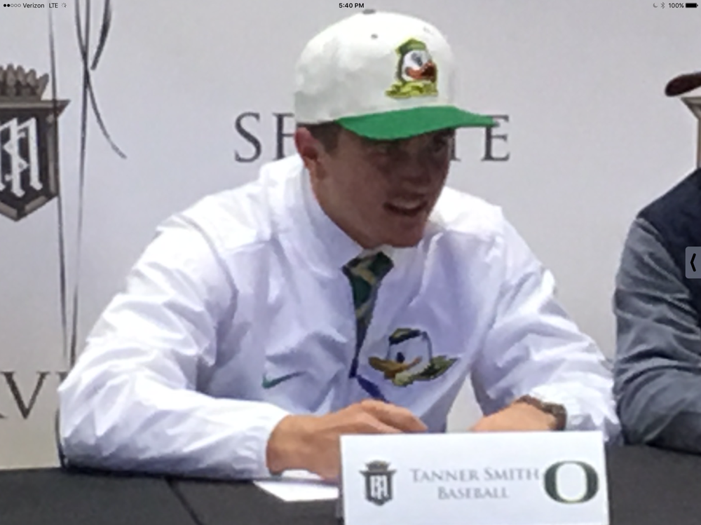 Tanner Smith 2018 Outfielder signing national letter of intent to play baseball at the University of Oregon