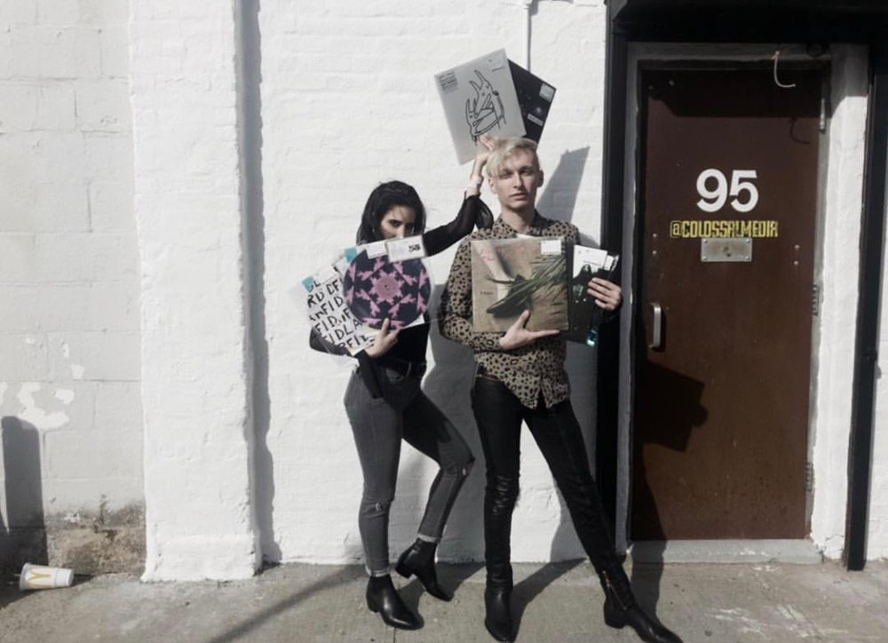 PHOTO: Sarah La'Berge / BLENDED ( Derek Dignan and girlfriend Cassidy Grady with the records he purchased at Rough Trade )
