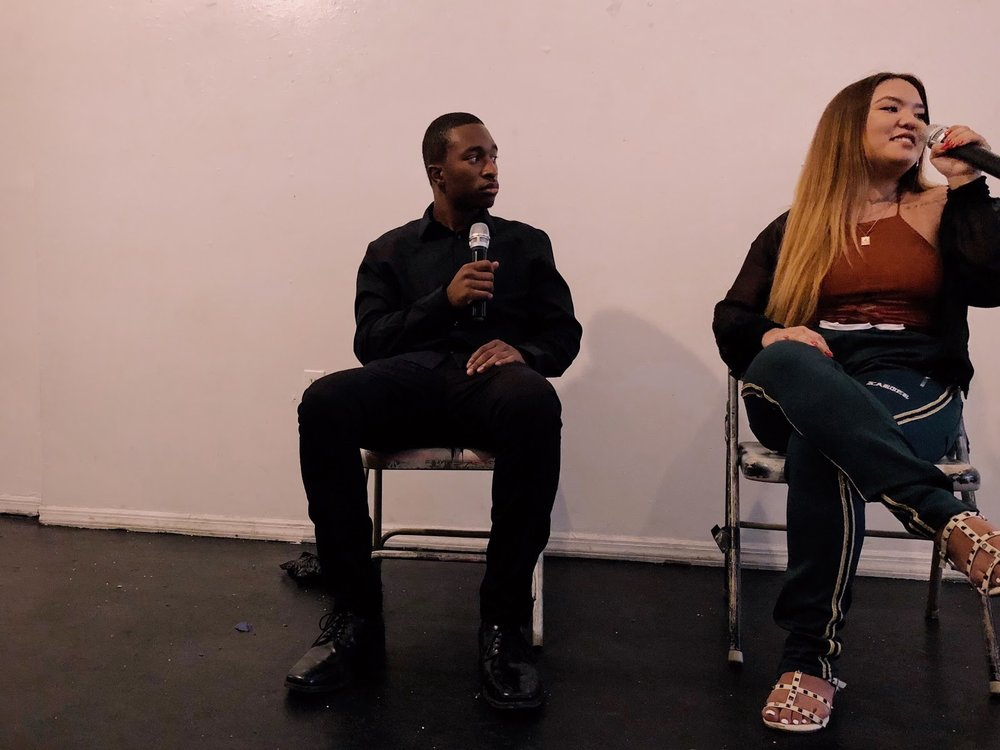 """Artist-oriented panel on """"Transcribing Your Lyrics"""" featuring Anthony Obas, Director of Operations for Voiceless Music, and Regina Cho, Staff at Genius.com (PHOTO: Regan Hsieh)"""