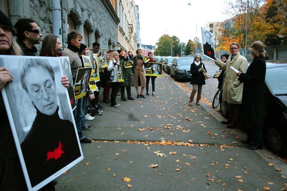 Supporters of slain journalist Anna Politkovskaya