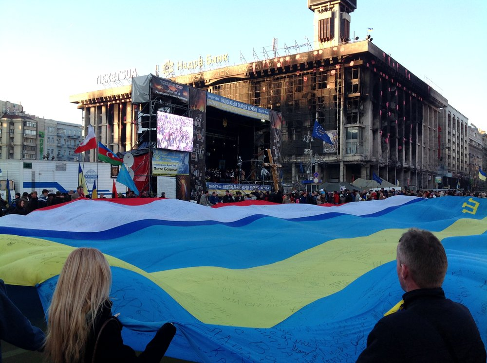 A huge Ukrainian flag been hoisted on Maidan Square in Kyiv in 2014