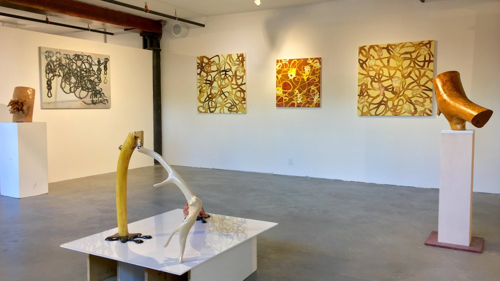 Lines of Communication   ,  at  Fountain Street , Boston MA, work by Jim Banks, Catherine Carter and Joel Moskowitz, September 2017