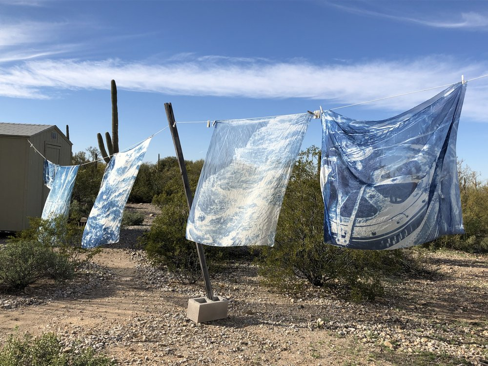 """Watching the cyanotypes billow as they dried in the breeze was mesmerizing, leading me to look for ways to recreate this feeling """"in captivity"""" so to speak, indoors in a gallery setting."""