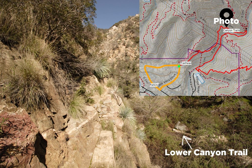 20 min in - Cement ruins of old railroad tram, location of photo on map and lower canyon trail in view