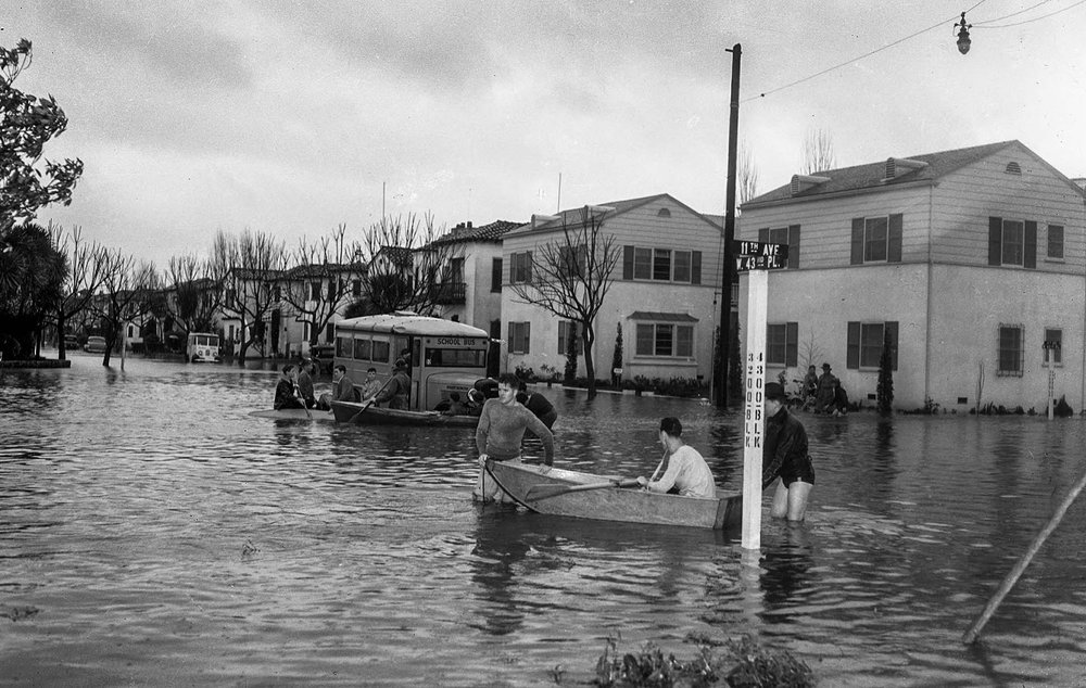 Streets of Los Angeles, 1938. Black and white photo of the 1938 flood that came from the San Gabriel mountains.