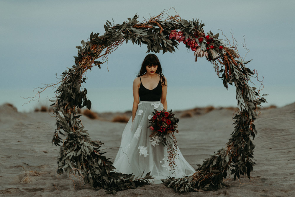 editorial shoot with wreath