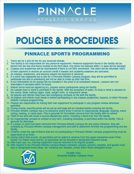 Click the image above for a printable version of our sport programming policies and procedures.