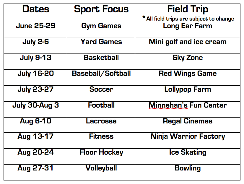 Schedule  - Sign up for the rest of the summer or pick your favorite week and come join us today!