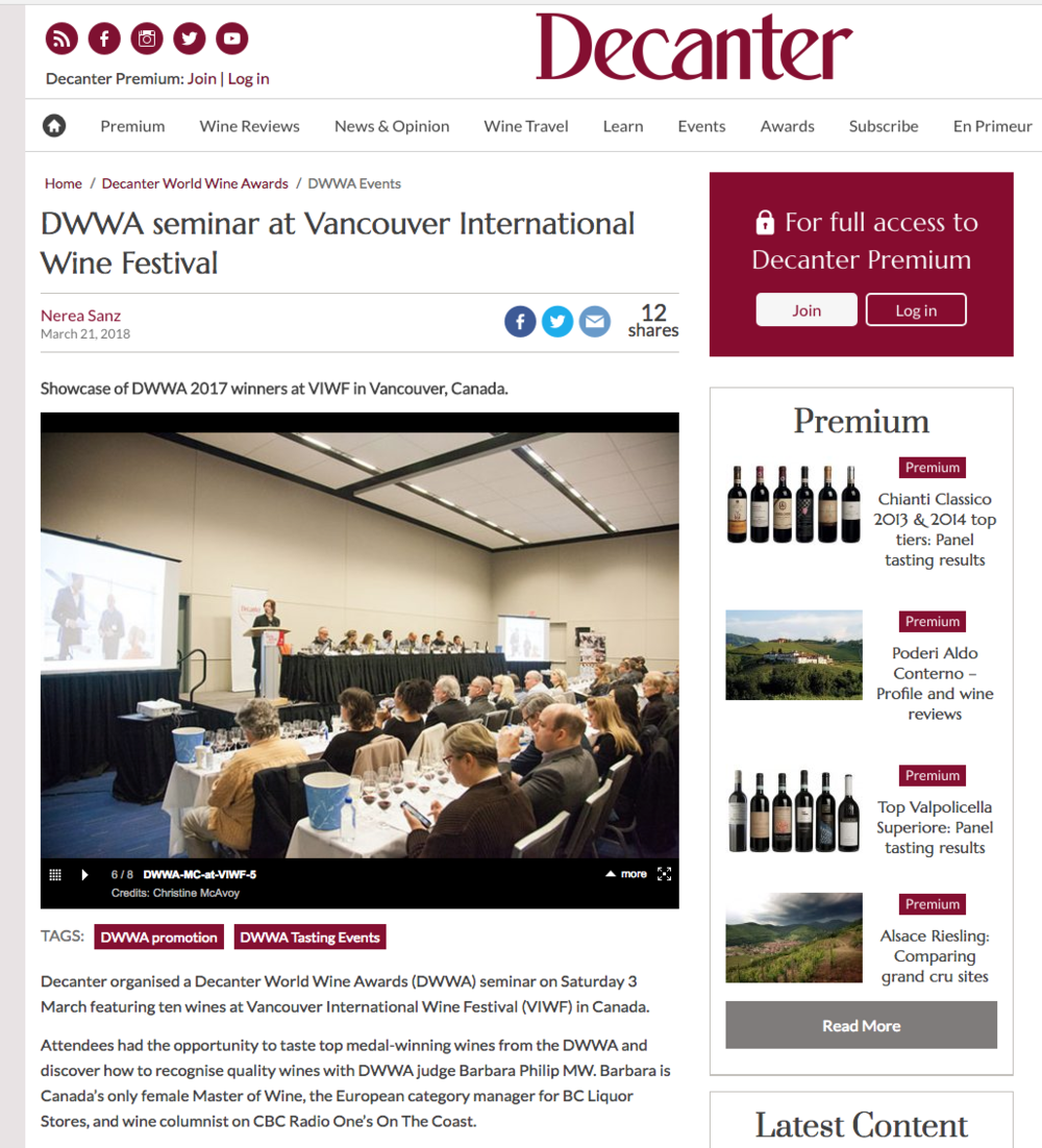 Photos from the Vancouver International Wine Festival  up on the Decanter website .