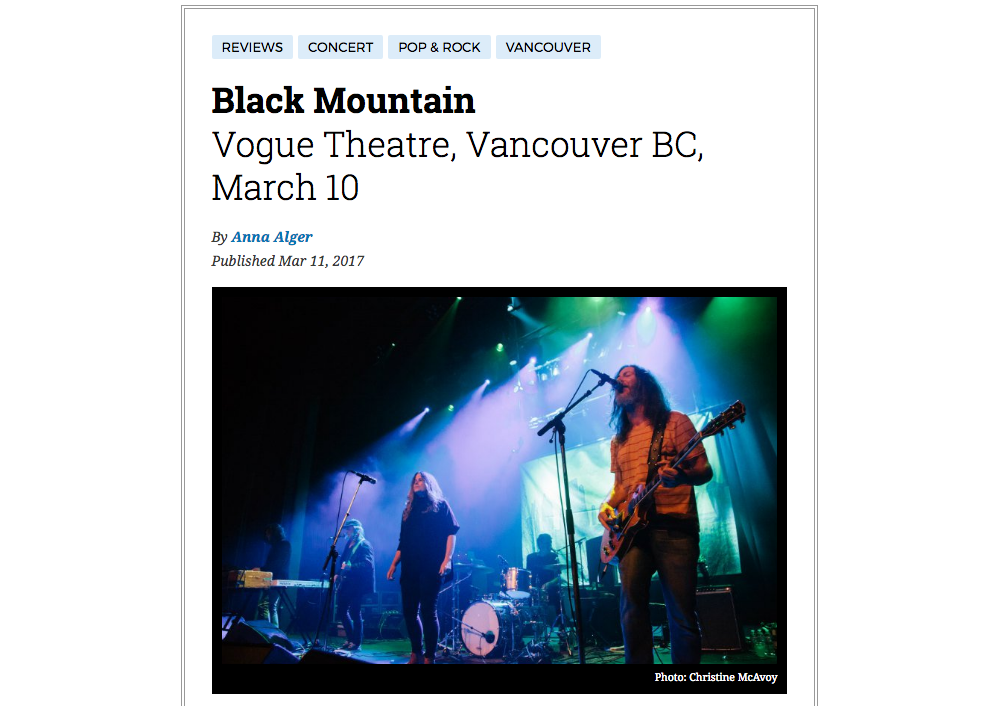 Black Mountain // Vogue Theatre March 10, 2017  for Exclaim.ca - click to see more