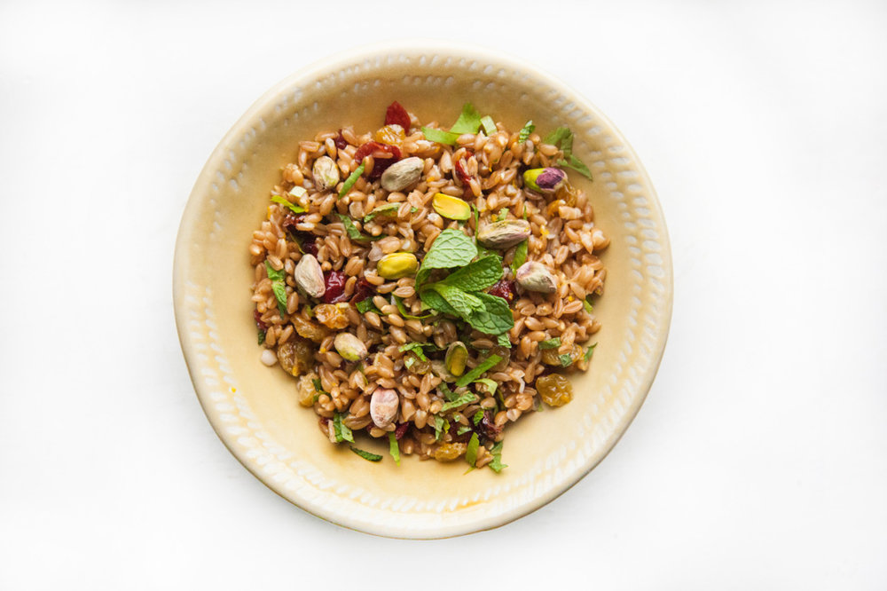 Farro Salad with Dried Cranberries, Golden Raisins & Pistachios  Recipe on the Barre Fitness Blog - Click here.