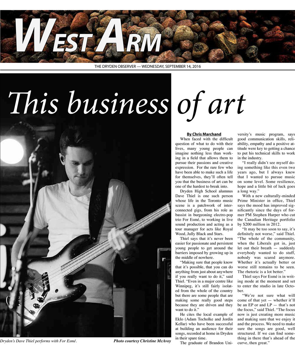 When shooting band promo photos in the past, the images have gone all sorts of places, including local newspapers.  Never would I have guessed that a photo I took of a friend on stage, that they then made their profile photo, would lead to a similar thing.  That said, here's my photo of Dave Thiel from the band   For Esme   in  The Dryden Observer .