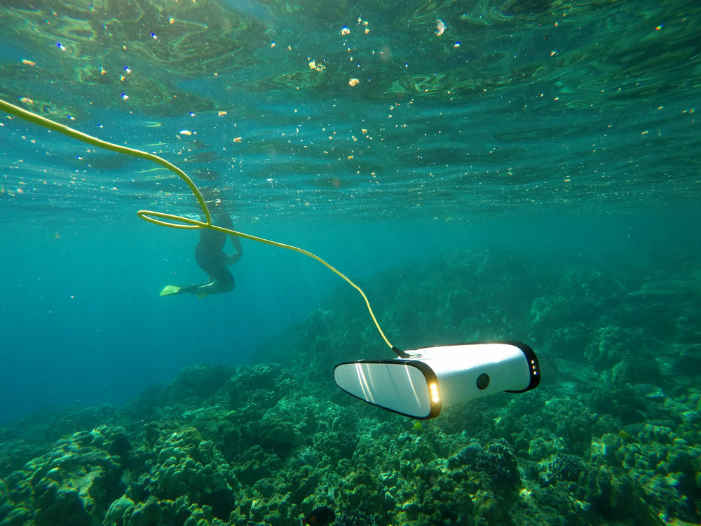 OpenROV's Trident capturing imagery data over the a reef [Photo Courtesy of OpenROV]