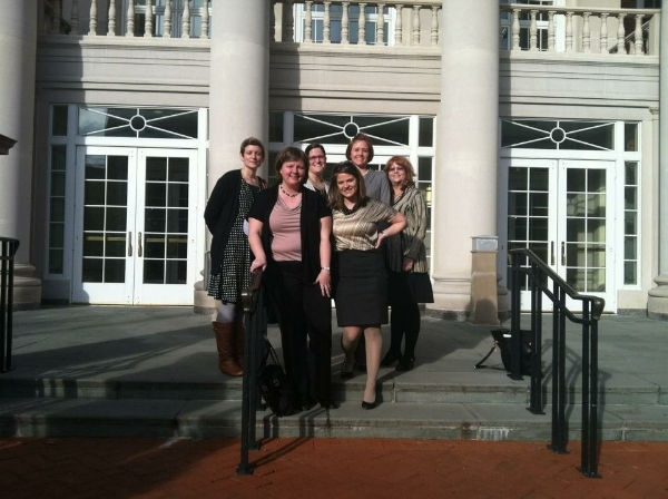 MATA representatives (left to right) Jill Scheibler, Amanda Bechtel, Cathy Goucher, Liz Hlavek, Erin McConnell, and Peggy Kolodny at the Maryland State House following successful passage of Art Therapy Licensure and Title Protection Bill in 2012.