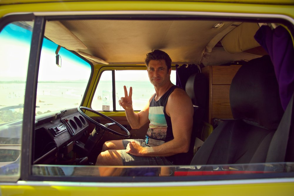 Pete Murray cruising in his Kombi in Byron Bay
