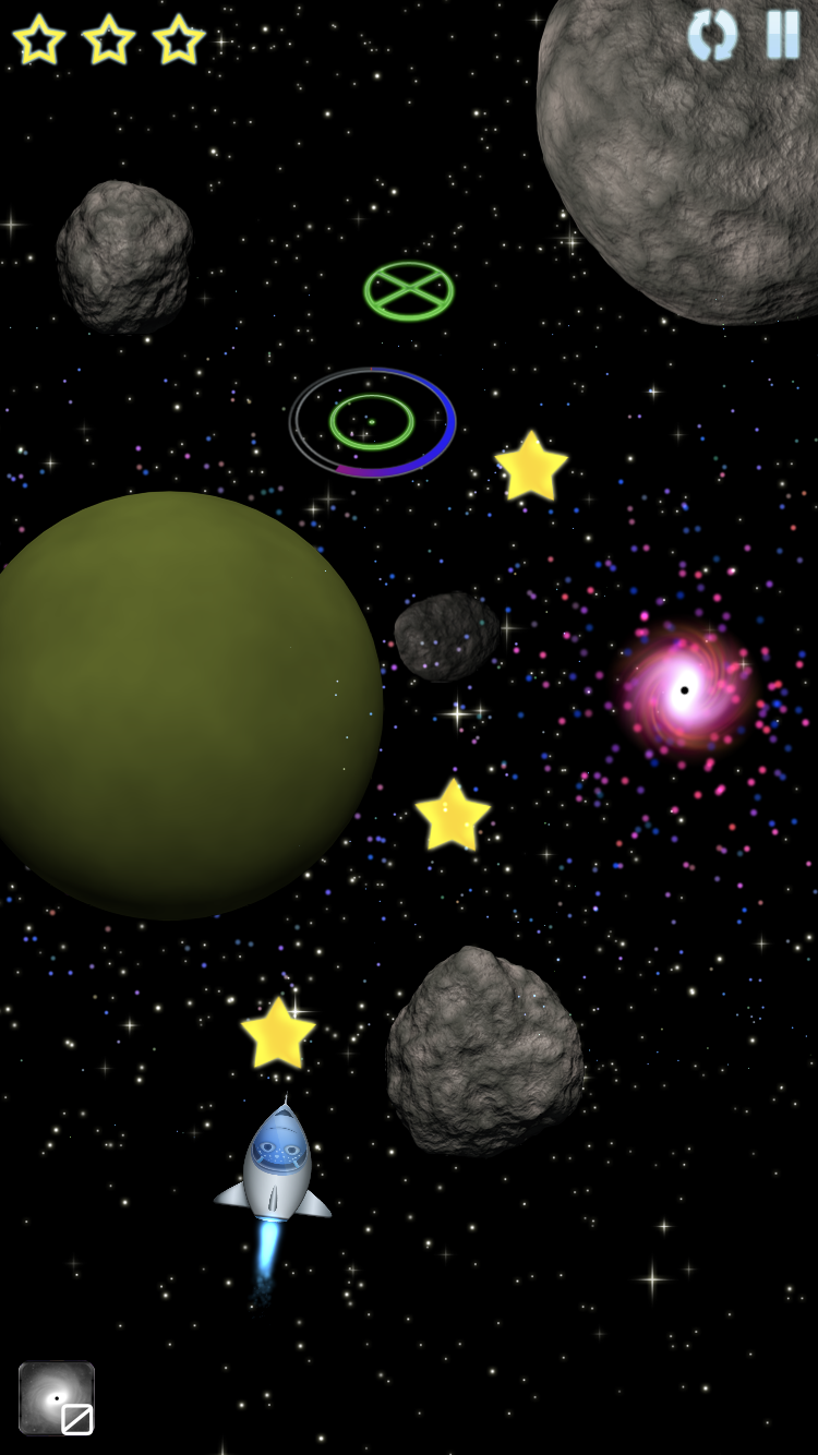 Create black holes to help guide your spacecraft around asteroids and planets!