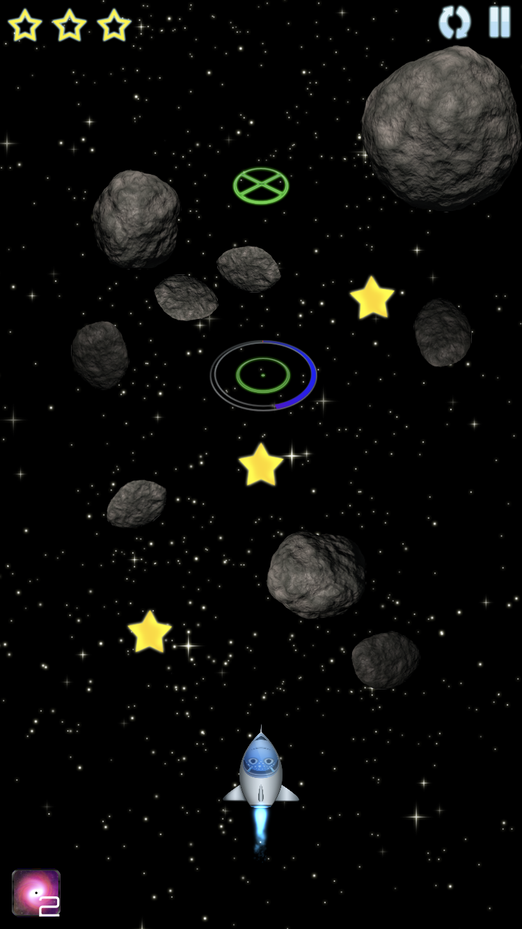 Navigate asteroid fields using the gravity generated by black holes to pull you where you need to go.