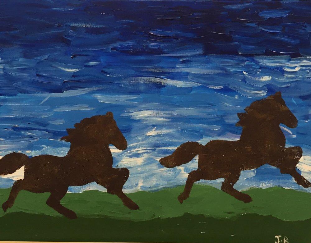 Running Horses (Acrylic on Canvas )    By J. B.