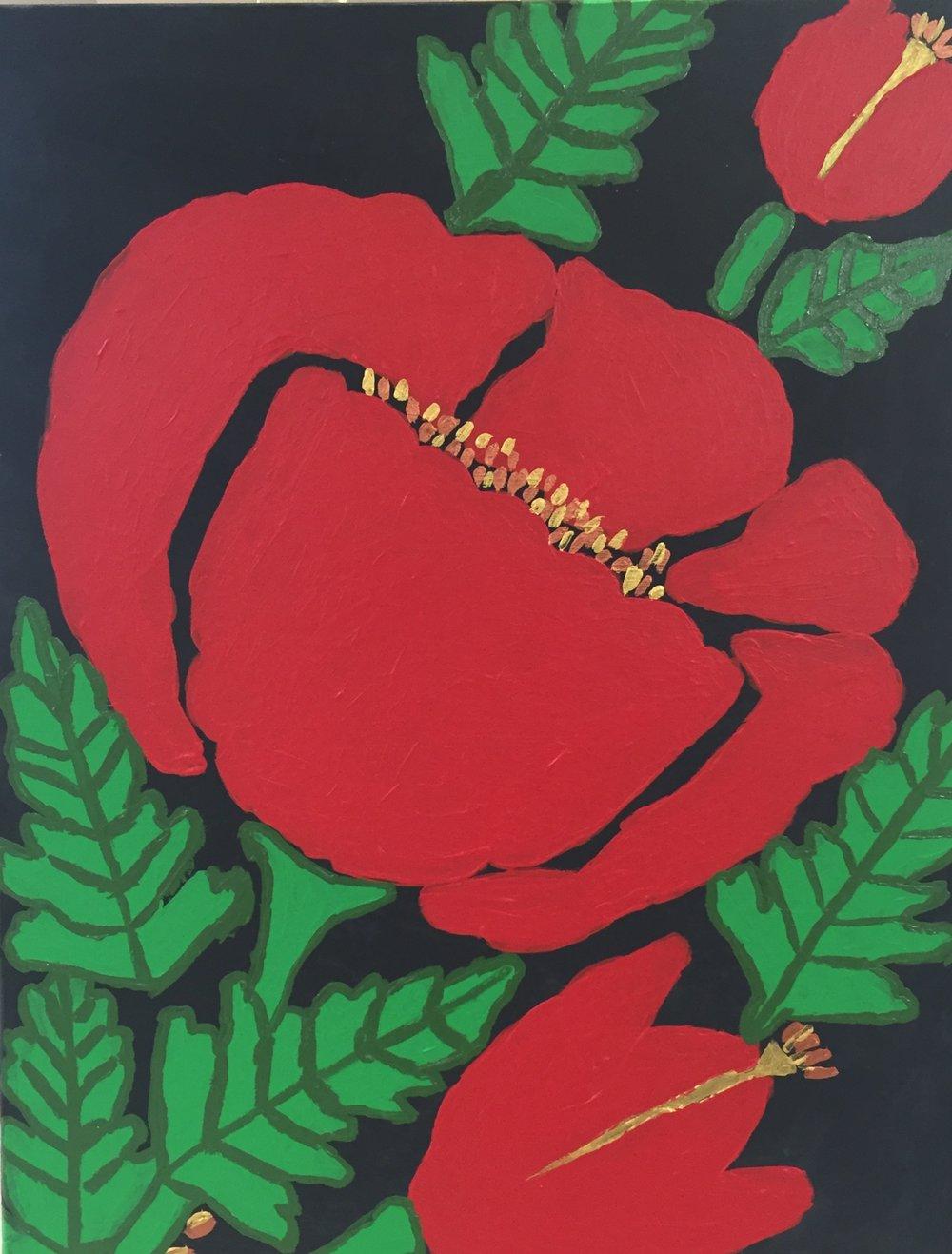 Poppy (Acrylic on Canvas)    By D. P.