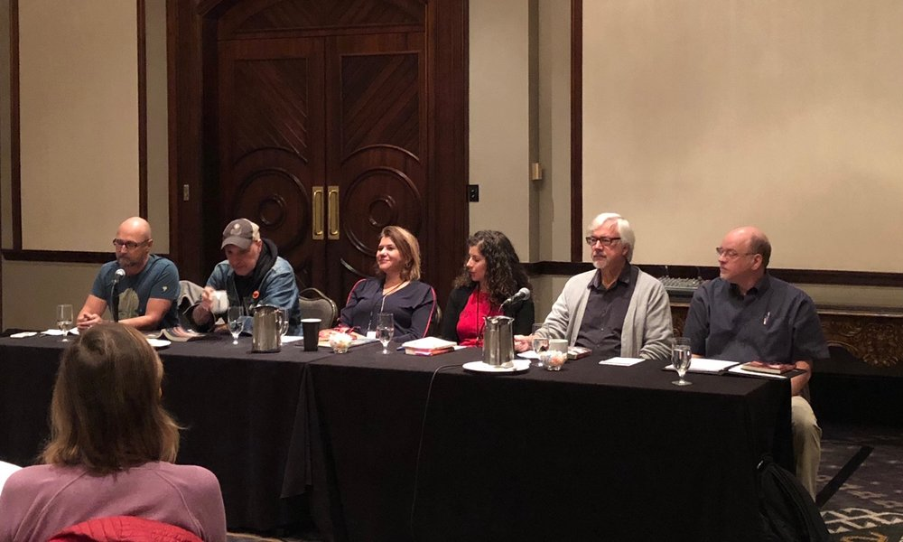 Whistler Writers Festival 2018 - From left to right: Leslie Anthony, Dave Bidini, Elizabeth Renzetti, Claire Sicherman, Bill Gaston and Mark Cote
