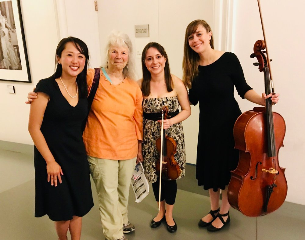 Posing after our Clara Schumann performance with one of our sponsors for SF Music Day 2018, cultural anthropologist Dr. Carol Mukhopadhyay.  September 30, 2018