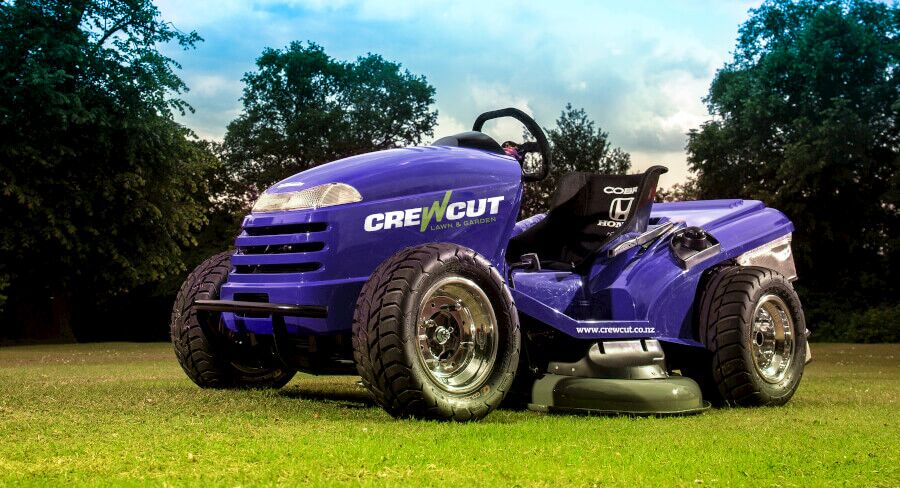 Purple Crewcut ride-on lawn mower