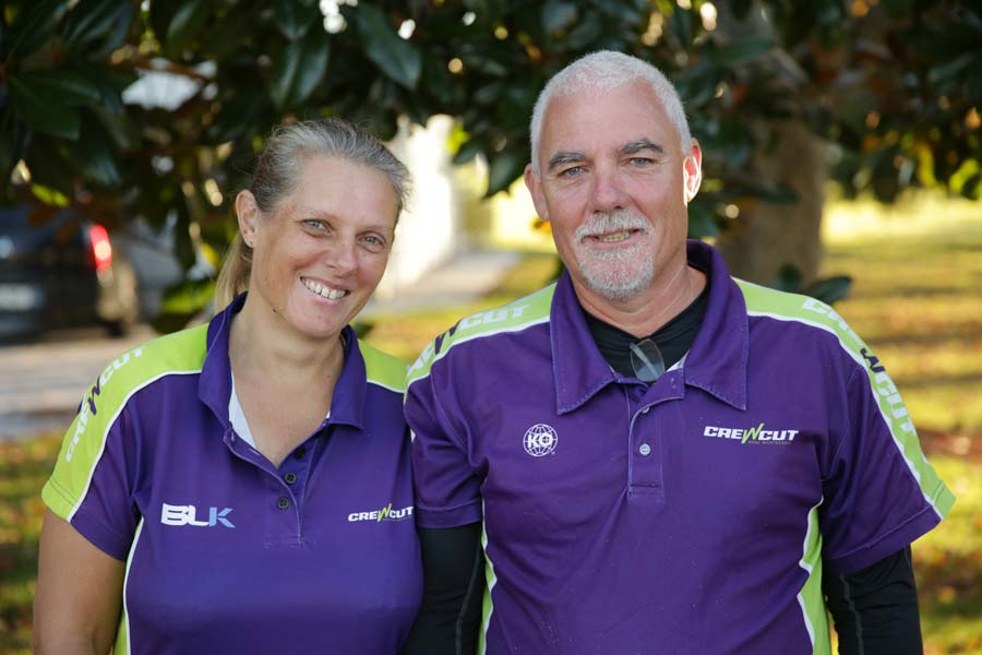 Happy Whangarei Crewcut couple lawn business owners