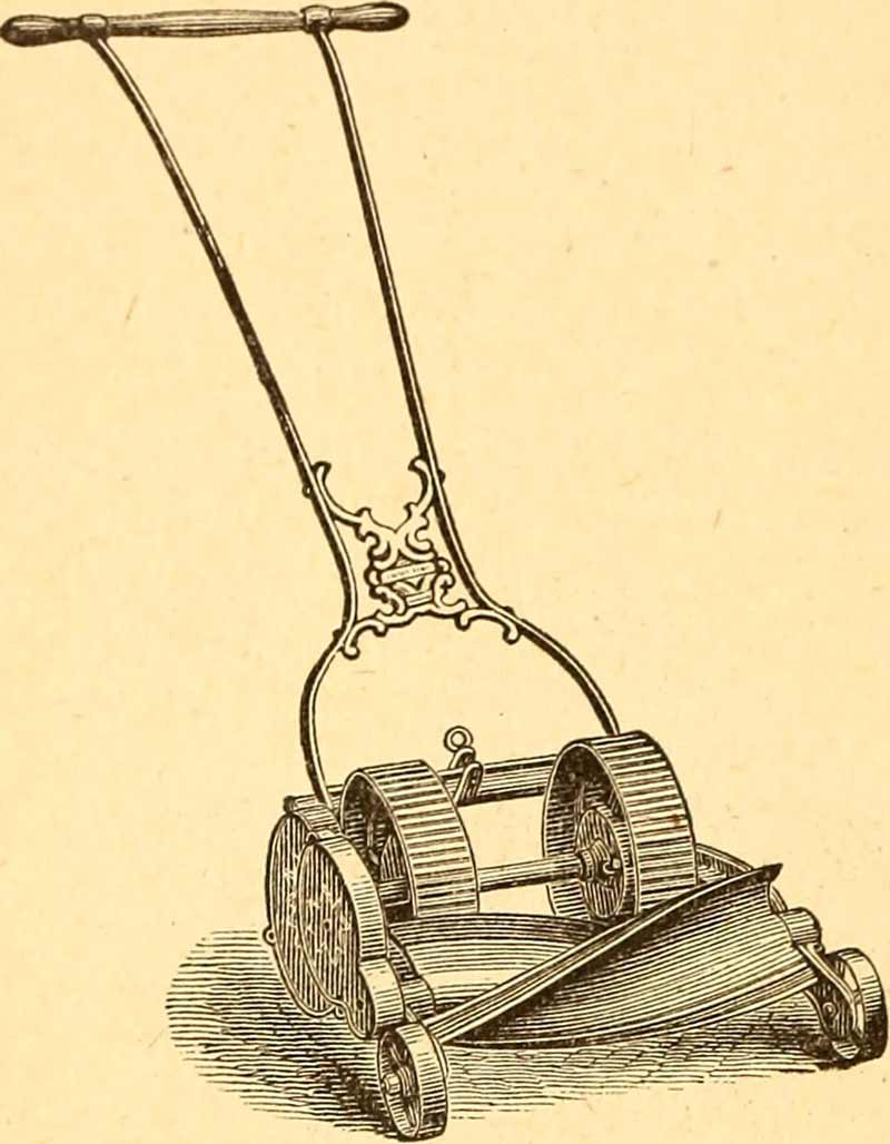 Vintage lawn mower illustration
